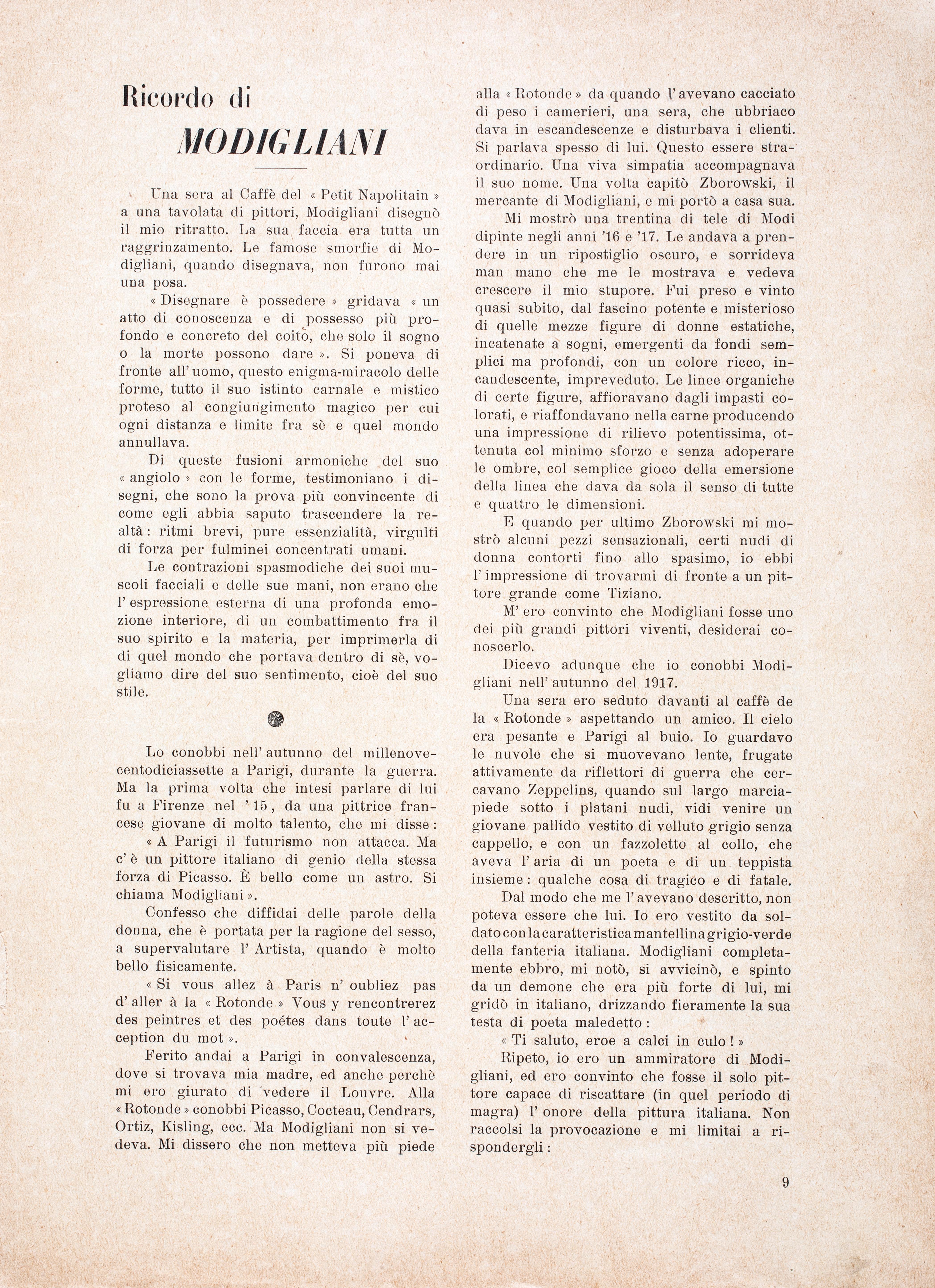 Prima pagina del