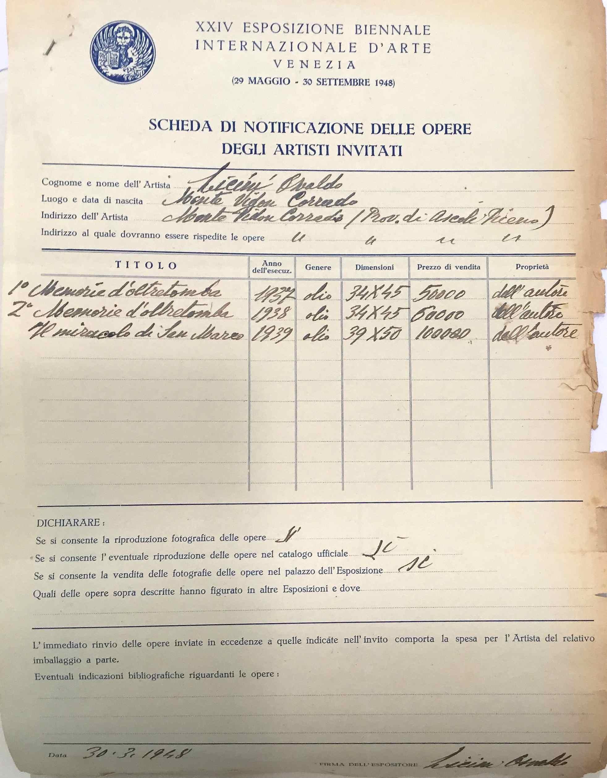 Scheda Biennale 1948